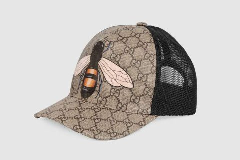 Gucci bee gg supreme honkbalpet beige/zwart
