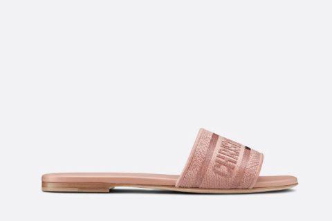 Christian Dior dway dames slippers metallic roze