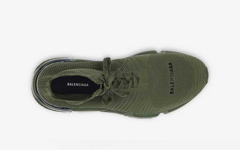 Balenciaga speed trainers 2.0 lace up clear sole sneakers groen