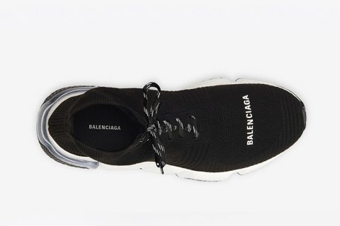 Balenciaga speed trainers 2.0 lace up clear sole sneakers zwart/wit
