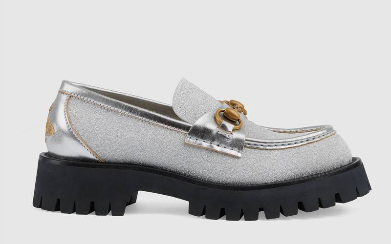 Gucci lug sole horsebit dames instappers zilver