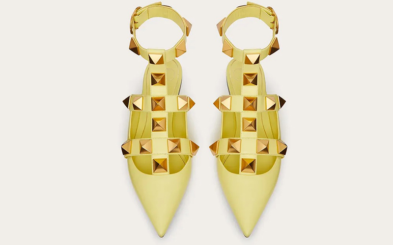 Valentino Garavani roman stud dames sandalen geel