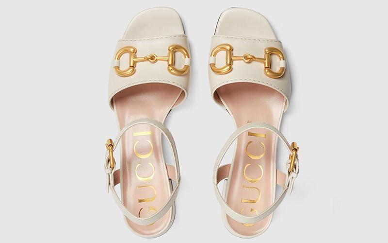 Gucci horsebit lederen dames sandalen wit/goud