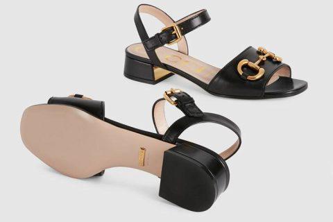 Gucci horsebit lederen dames sandalen zwart/goud