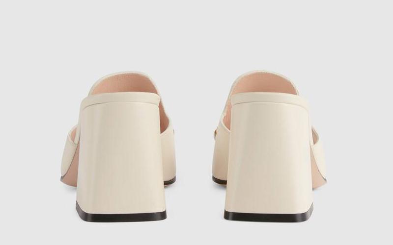 Gucci horsebit lederen dames sandalen wit/goud - 02
