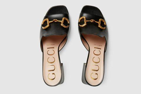 Gucci horsebit lederen dames sandalen zwart/goud - 02