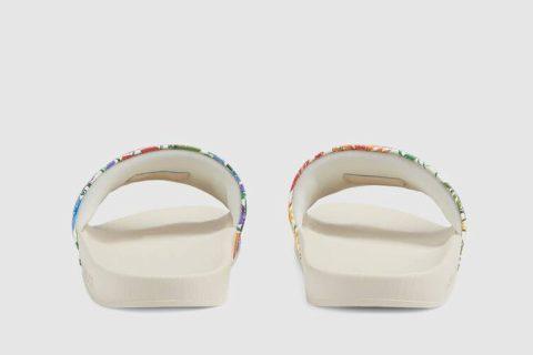Gucci ken scott print dames slippers wit
