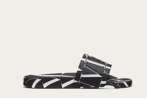Valentino Garavani vltn times heren slippers zwart/wit