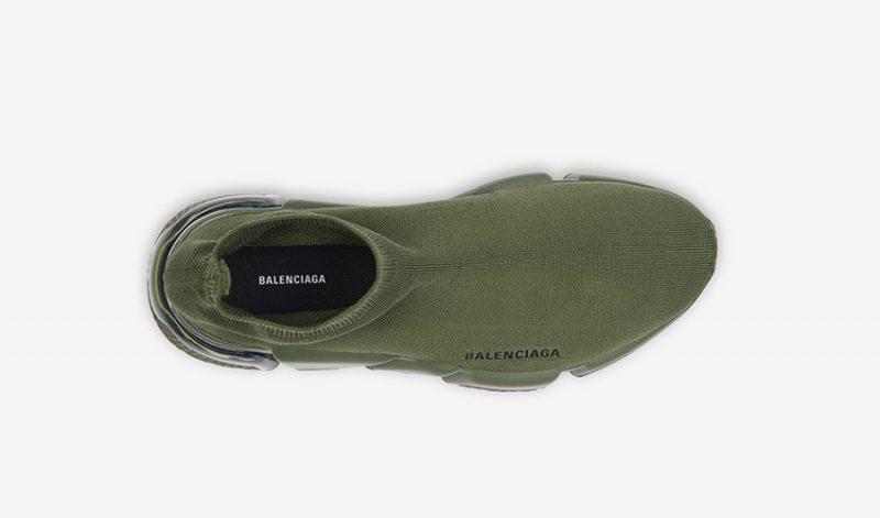 Balenciaga speed clear sole heren sneakers groen