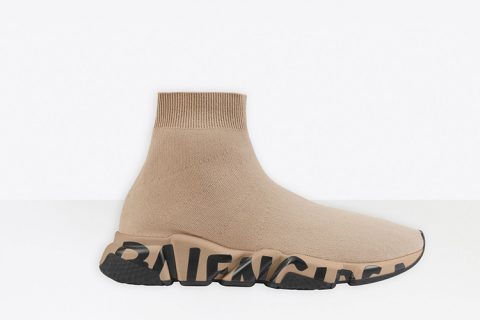Balenciaga speed graffiti heren sneakers beige/zwart
