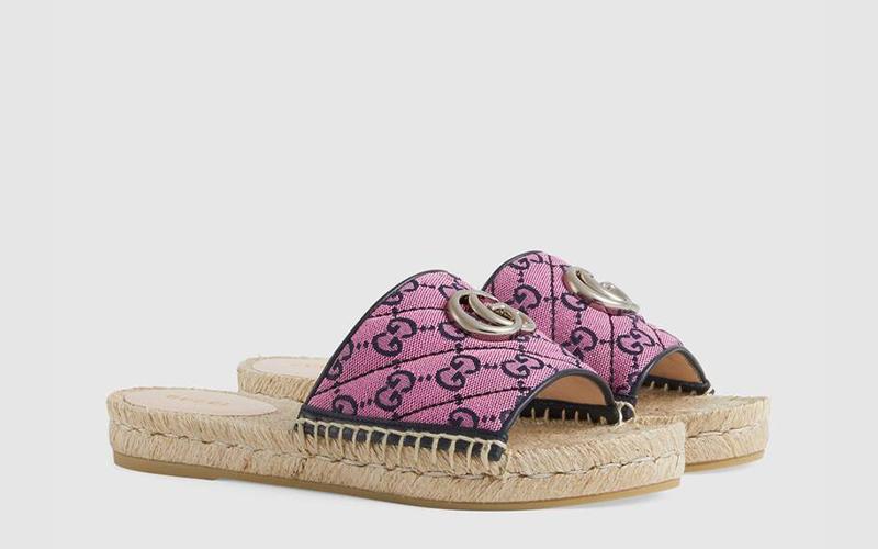 Gucci gg multicolour espadrille dames slippers roze
