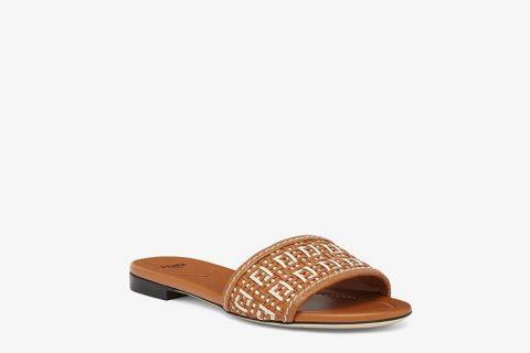 Fendi ff interlace dames slippers bruin/beige