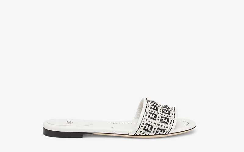 Fendi ff interlace dames slippers wit