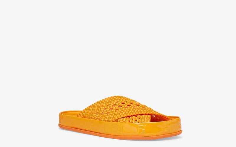Fendi reflections dames slippers oranje