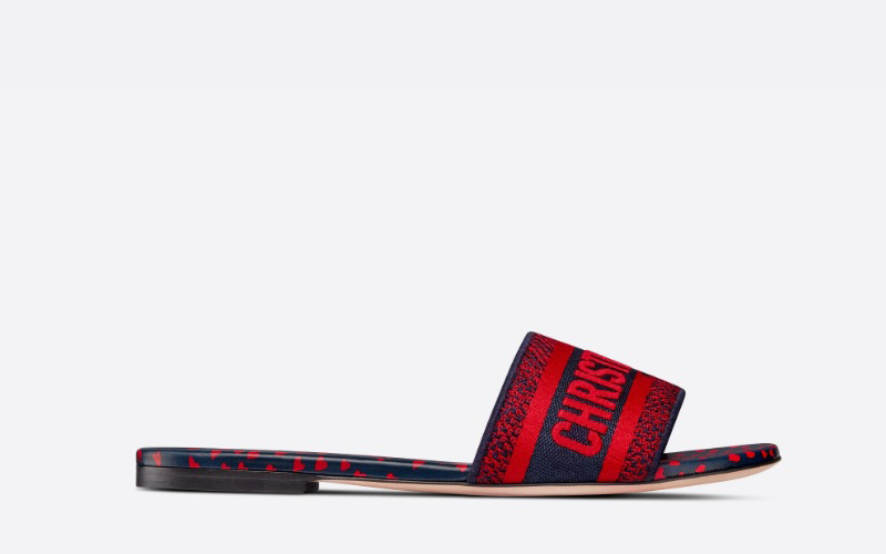 Christian Dior dway dames slippers rood/donkerblauw