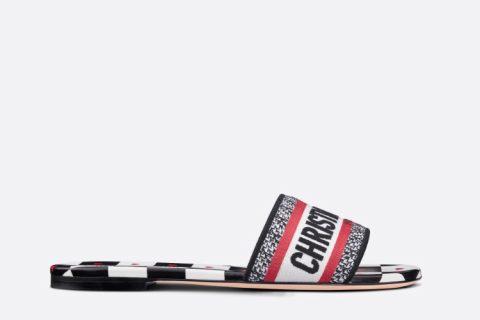Christian Dior dway dioramour dames slippers wit/zwart