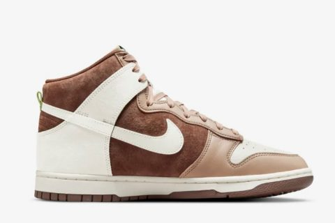 Nike dunk high sneakers bruin/wit