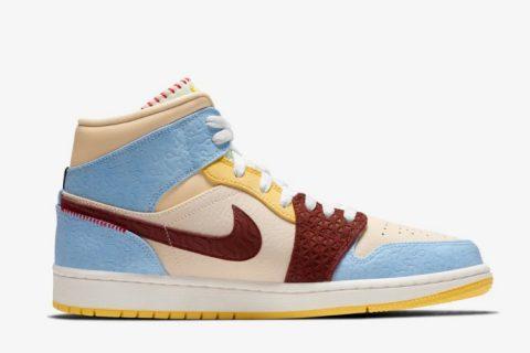 Nike air jordan 1 mid fearless dames sneakers blauw/geel