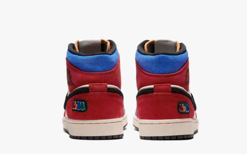 Nike air jordan 1 mid fearless blue the great sneakers rood/blauw