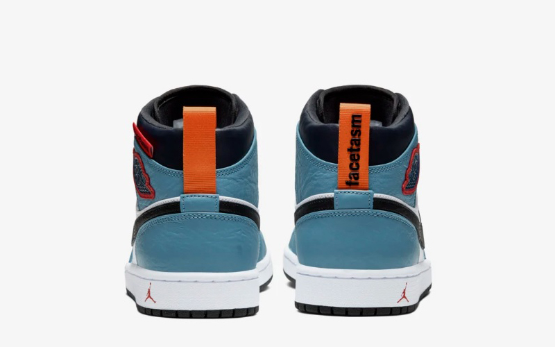Nike air jordan 1 mid fearless facetasm sneakers blauw/wit